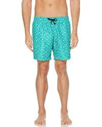 Perry Ellis Printed Water Resistant Swim Shorts - Green