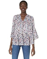 Lucky Brand - Ditsy Floral Tiered Peasant Top - Lyst