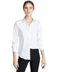 Theory Classic Long Sleeve Tenia Buttondown Blouse - White