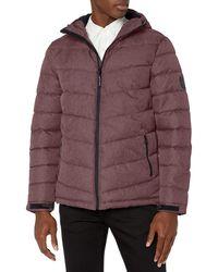 Perry Ellis mens Heather Puffer Jacket With Hood