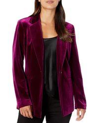 Nine West 1 Button Notch Collar Velvet Jacket - Purple