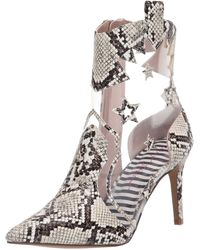 Betsey Johnson Lunas Snake Print Clear Western Booties - Multicolor