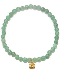 Satya Jewelry - S Aventurine Gold Ganesha Stretch Bracelet, Green, One Size - Lyst