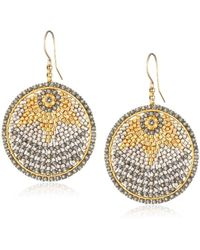 Miguel Ases Gold And Soft Pewter Small Disc Earrings - Gray