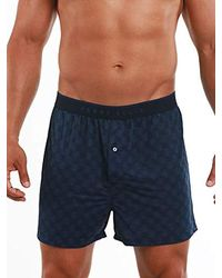 Perry Ellis Luxe Button Fly Boxer Short - Blue