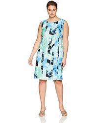 Kasper - Size Plus Sleeveless Sea Waves Printed Crepe Dress - Lyst