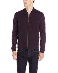Ted Baker Long-sleeve Herringbone Quilted Baseball Jacket - Purple