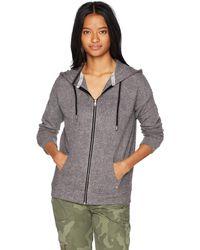 Volcom Lil Zip Up Hooded Fleece Sweatshirt - Gray