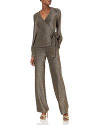 Donna Morgan Metallic Knit Wrap Jumpsuit
