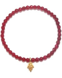 Satya Jewelry Fuchsia Agate Gold Hamsa Stretch Bracelet - Multicolor