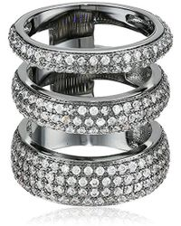 Noir Jewelry - Three Circle Clear Cubic Zirconia Ring - Lyst