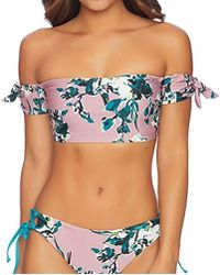 b42aba02e81cae Lyst - Splendid Watercolor Floral Off Shoulder Bandeau Top in Pink