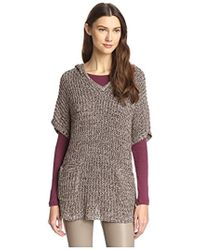 James & Erin - Marled Hooded Poncho Sweater Tunic - Lyst