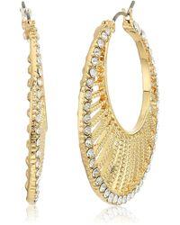 Napier Fanned Hoop Earrings - Metallic