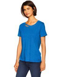 n:PHILANTHROPY Round Neck Short Sleeve Distressed T Shirt - Blue