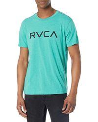 RVCA Red Stitch Graphic Crew T-shirt - Blue