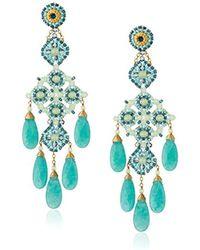 Miguel Ases - Prehnite And Green Quartz Chandelier Drop Earrings - Lyst