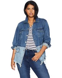 Lucky Brand Plus Size Pieced Waisted Trucker Jacket - Blue
