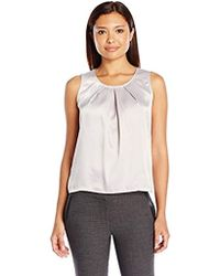 Kasper Petite Size Solid Pleat Neck Blouse - White