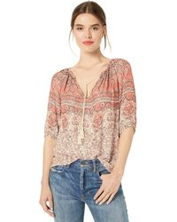 Lucky Brand Printed Kelly Peasant Top - Pink