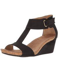 9217340665 Adrienne Vittadini - Footwear Trellis Footbed T-strap Wedge Sandal - Lyst