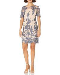 Tahari Petite Illusion Top Sheath Dress - Blue