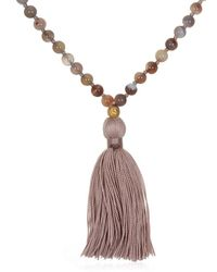 Satya Jewelry - Botswana Agate Gold Lotus Mala Necklace 30-inch - Lyst