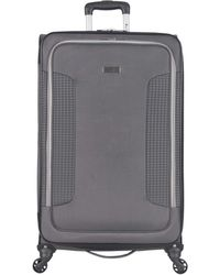"""Ben Sherman Houndstooth Hike 28"""" Lightweight Softside Expandable 4-wheel Spinner Checked Suitcase - Gray"""