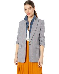 Equipment Plaide Single Breasted Jeanne Blazer - Blue