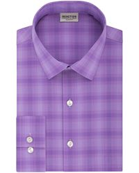 Kenneth Cole Reaction Dress Shirt Slim Fit Stretch Collar Check - Purple