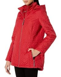 Tommy Hilfiger Hooded Double Diamond Quilted Jacket - Red