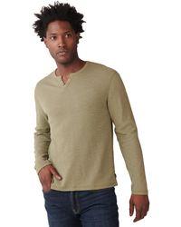 Lucky Brand Long Sleeve Button Notch Neck Slub Thermal - Green