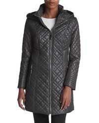 Via Spiga Center Zip Diamond Quilt Coat With Hood - Black