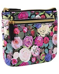 Buxton Floral Sunshine Rfid Pik-me-up Large I.d. Coin/card Case - Black