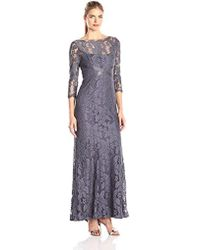 Adrianna Papell - Lace Gown With Beaded Banding - Lyst