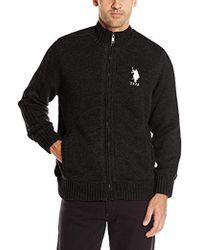 U.S. POLO ASSN. Microsherpa Lined Full Zip Sweater - Black