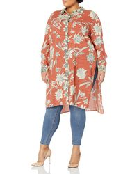 Jessica Simpson Lori Button Up Duster Shirt - Red