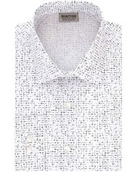 Kenneth Cole Reaction Dress Shirt Extra Slim Fit Stretch Stay-crisp Collar Print - Gray