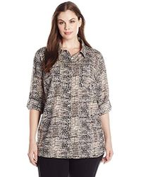 ecf0c2d4 Calvin Klein Plus Size Roll Sleeve Long Printed Tunic in Black - Lyst