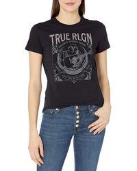 True Religion Moon Buddha Short Sleeve Crew Neck Tee - Nero