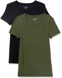 Amazon Essentials 2-Pack Slim-fit Short-Sleeve Crewneck T-Shirt Fashion - Vert