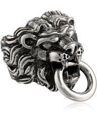 King Baby Studio Lion's Head Sterling Silver Ring - Metallic