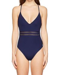 Kenneth Cole V-neck Cross Back One Piece Swimsuit - Blue