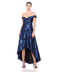 Calvin Klein - Off The Shoulder Gown With Hi Low Hem Dress - Lyst