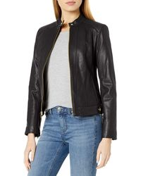 Cole Haan Racer Jacket With Quilted Panels - Black