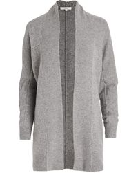 Vince Boiled Cashmere Open Rib Trim Cardigan - Gray