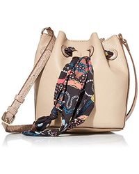 Anne Klein Drawstring Bucket Bag With Scarf - Multicolor