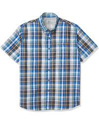 G.H.BASS Explorer Short Sleeve Fishing Shirt Plaid Button Pocket - Blue