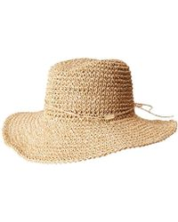 Steve Madden - Natural Crochet Packable Cowboy Hat With Ties - Lyst cf25800d0209