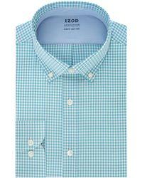 Izod Dress Shirt Slim Fit Stretch Fx Cooling Collar Check - Blue